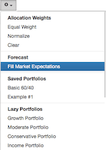 Populate expectations menu dropdown